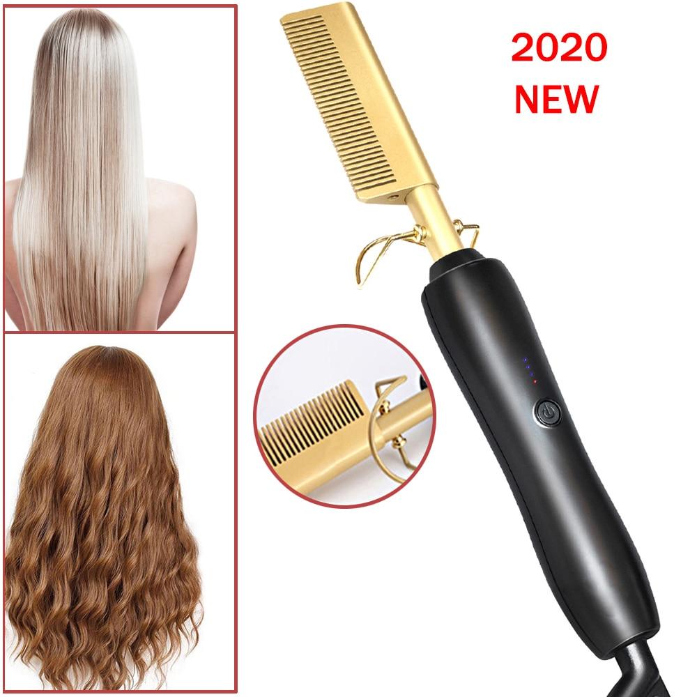 Rizadores de pelo, cepillo eléctrico para rizar el cabello, peine caliente, cepillo de cerámica para alisar el cabello, peine 2 en 1, plancha rizadora alisadora