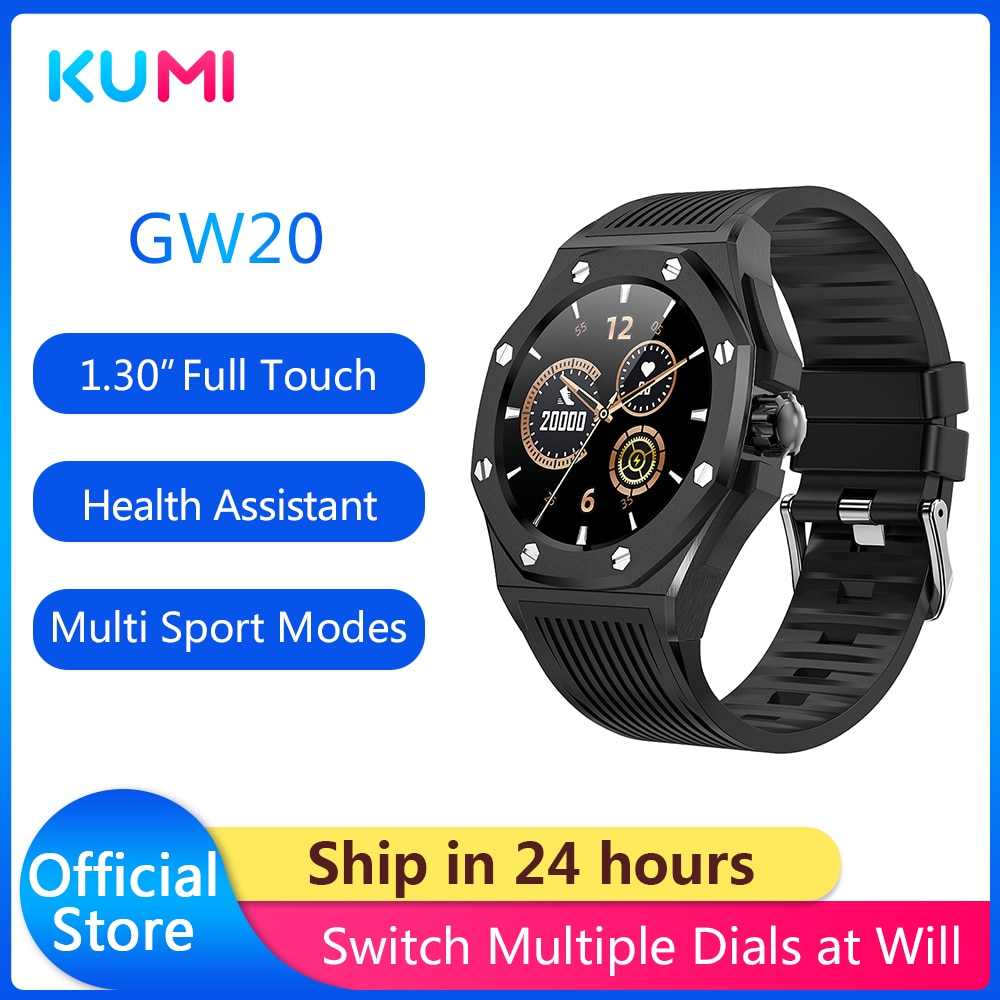 KUMI GW20 Light Luxury Men's Business Smartwatch Fashion Sport Sport Stainless Steel Case Silicone S