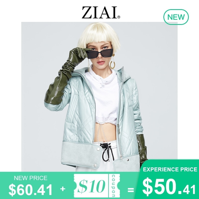 ZIAI 2021 Women's spring jackets Designer Collection short ladies Jacket Casual Fur stitching with Hood parka Women Coat ZM-8778