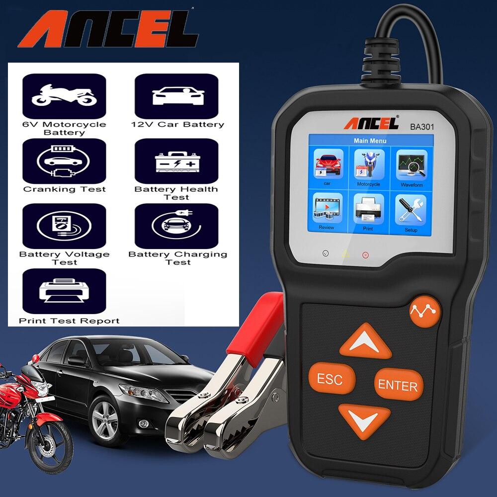 Ancel ba301 testador de bateria carro 100 a 2000 cca motocicleta carro saúde cranking carregamento 12v/6v bateria carro sistema analisador ferramentas