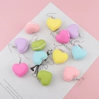 korean fashion love heart shaped soft polymer clay hanging earrings for women 2021 trend candy unique dangle earrings