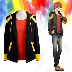 707 Cosplay Costume Mystic Messenger Saeyoung Choi Cosplay Zipper Jacket Luciel Seven Hoodies  Red T-shirt Jacket Coat zipper