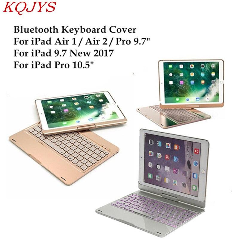 Kqjys para ipad 5/6/ar/ar 2 retroiluminado luz de alumínio sem fio bluetooth teclado caso capa para ipad por 9.7 / 10.5 polegada