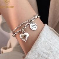 Женский двухслойный браслет XIYANIKE из серебра 925 пробы с надписью Love в форме сердца, уникальный дизайн из тайского серебра, Роскошные ювелирны...
