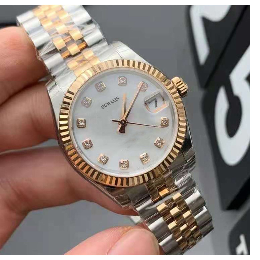 Luxury brand ladies watch automatic mechanical 31mm sapphire glass white dial 316 stainless steel clock 16233