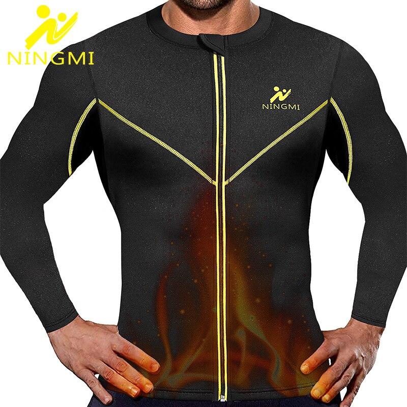 NINGMI Weight Loss Sports Top Jacket Men Waist Trainer Slim Body Shaper Neoprene Sauna Vest Home Fitness Shirts Zipper Shapewear