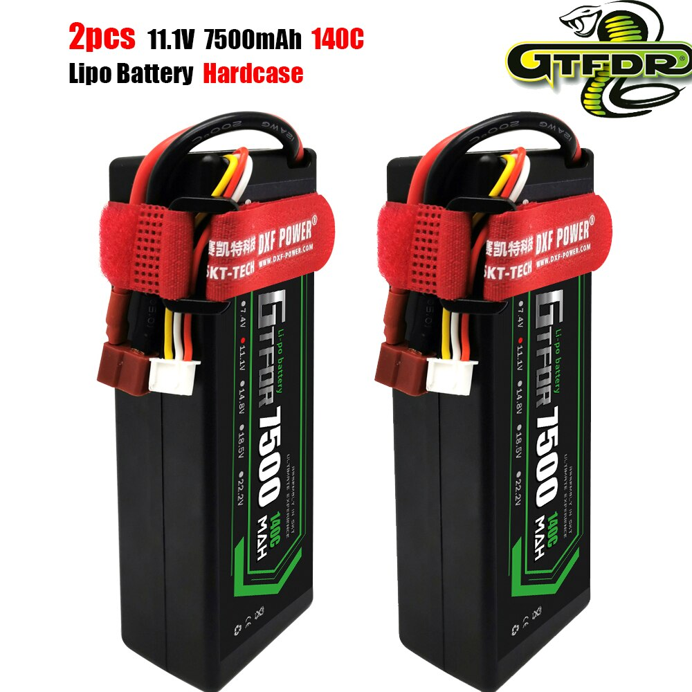 GTFDR  2pcs 3S 4S 11.1V 11.4V 14.8V 5200mAh 6400mAh 6750mAh 7500mAh 8400mAh 8000mAh 100C 200C 130C 260C 140C 280C for RC 1/8 Car enlarge