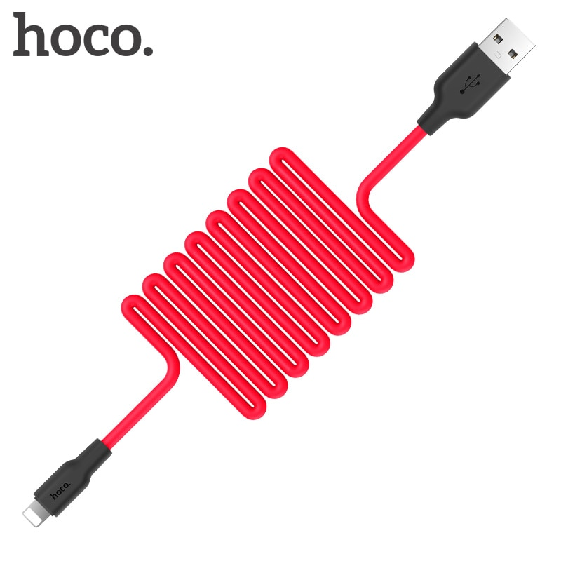HOCO-Cable USB de silicona de carga rápida para iphone, cargador resistente al...