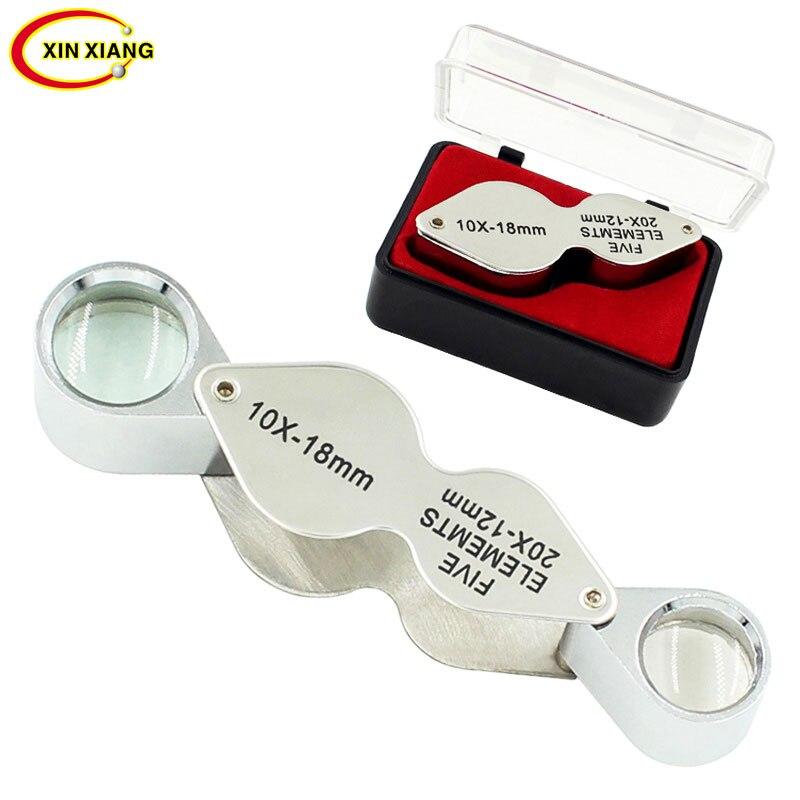 Lupa de lentes binoculares portátil 10X 20X, Lupa de bolsillo, Lupa plegable, Lupa de 2 lentes con Zoom, Lupa de joyería
