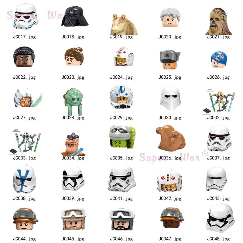Única estrela darth vaders clone troopers tempestade grievoures finn cabeça piloto acessórios diy mini brinquedos para meninos crianças kit série-112