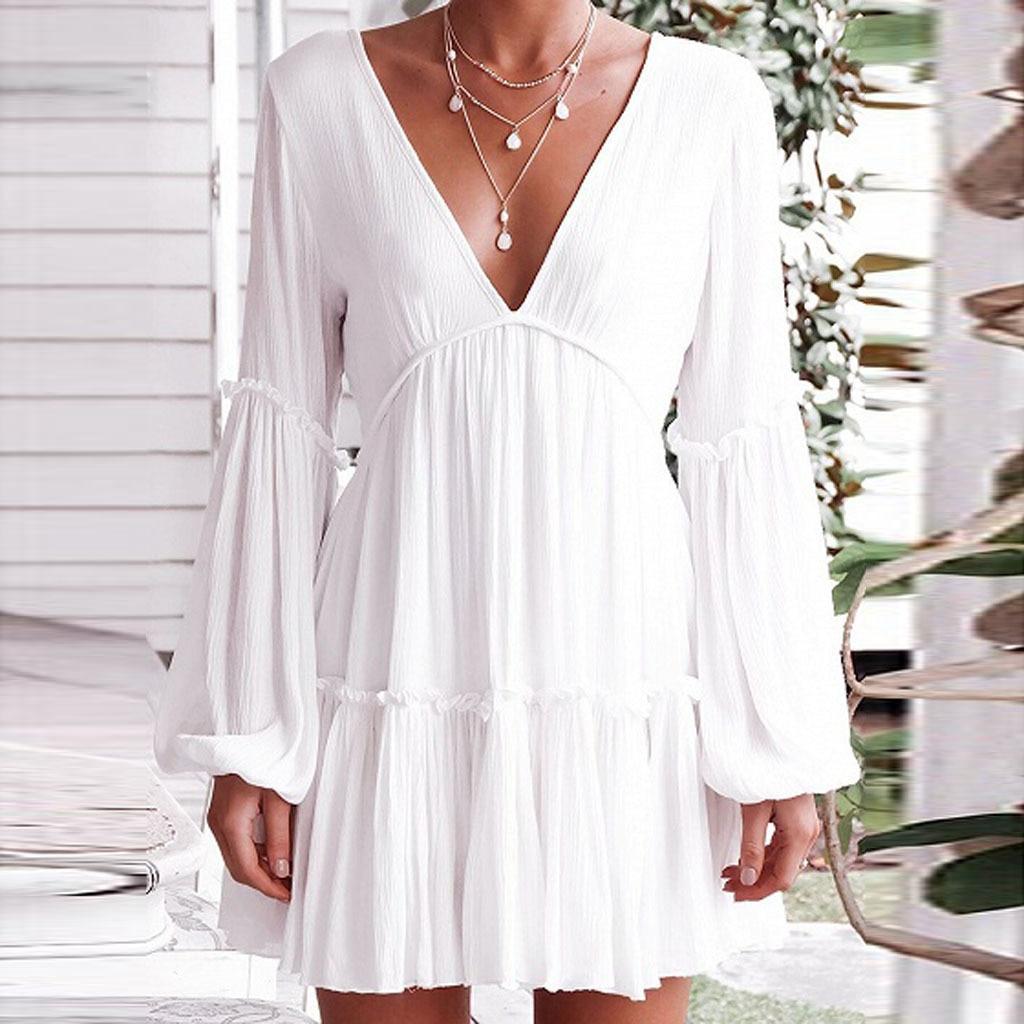 Boêmio vestido de praia senhoras sexy profundo decote em v sem costas branco vestido feminino modis elegante oco para fora streetwear verão 2020