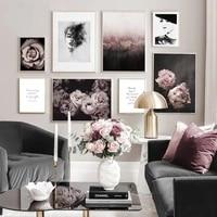Delada     toile murale avec fleur de Rose imprimee  affiche de mode nordique  peinture de femme en noir et blanc  decor de maison  photo