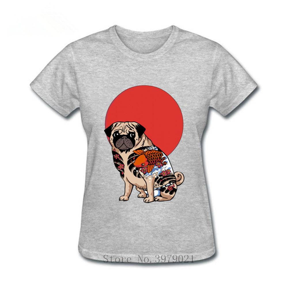 Yakuza Pug sol T camisa mujeres japonés carpa Koi peces camiseta de tatuaje homme Pug vida Tops Retro hipster T harajuku camisa