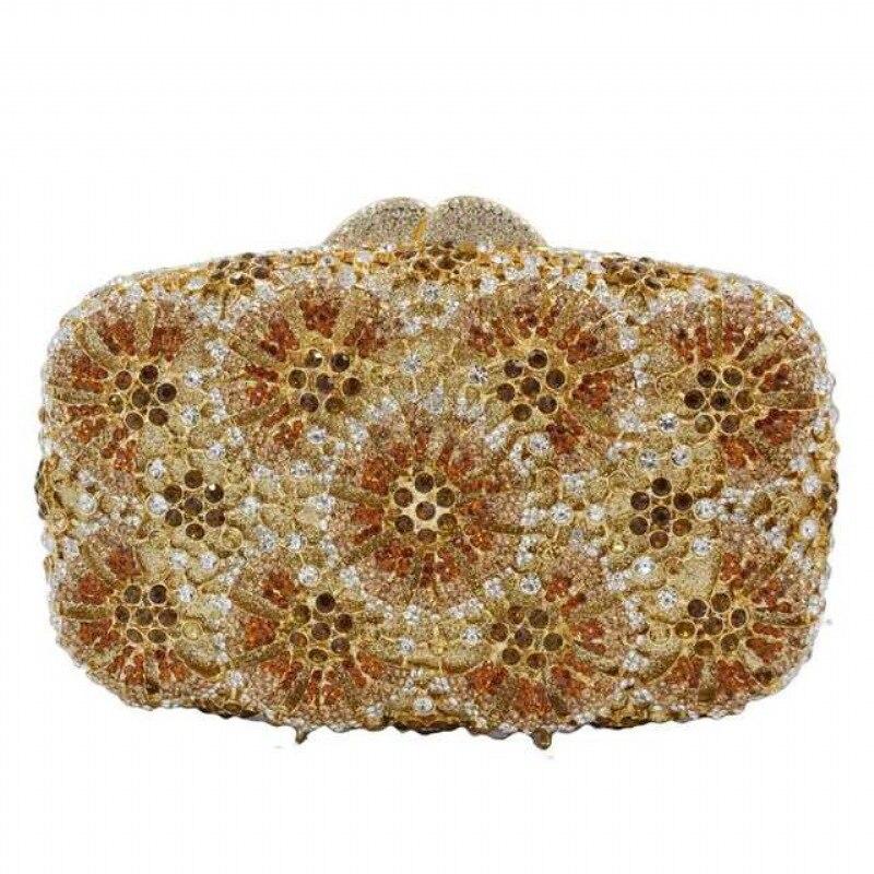 XIYUAN-حقيبة سهرة مزينة بالماس الكريستالي للنساء ، حقيبة يد ، نمط زهرة ، صناعة يدوية ، كلاتش للحفلات ، يوم ، حقيبة كتف لحفلات الزفاف