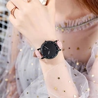 fashion quartz luxury small diamond dial womens watch for girls gift vintage leather band ladies casual wristwatches gifts