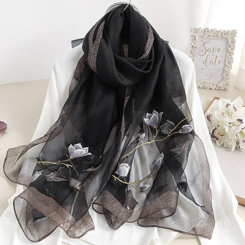 Elegant Floral Women Silk Scarf Wool Pashmina Shawls Lady Wraps Foulard Hijab Neck Bufanda Winter Scarves 2020 Design