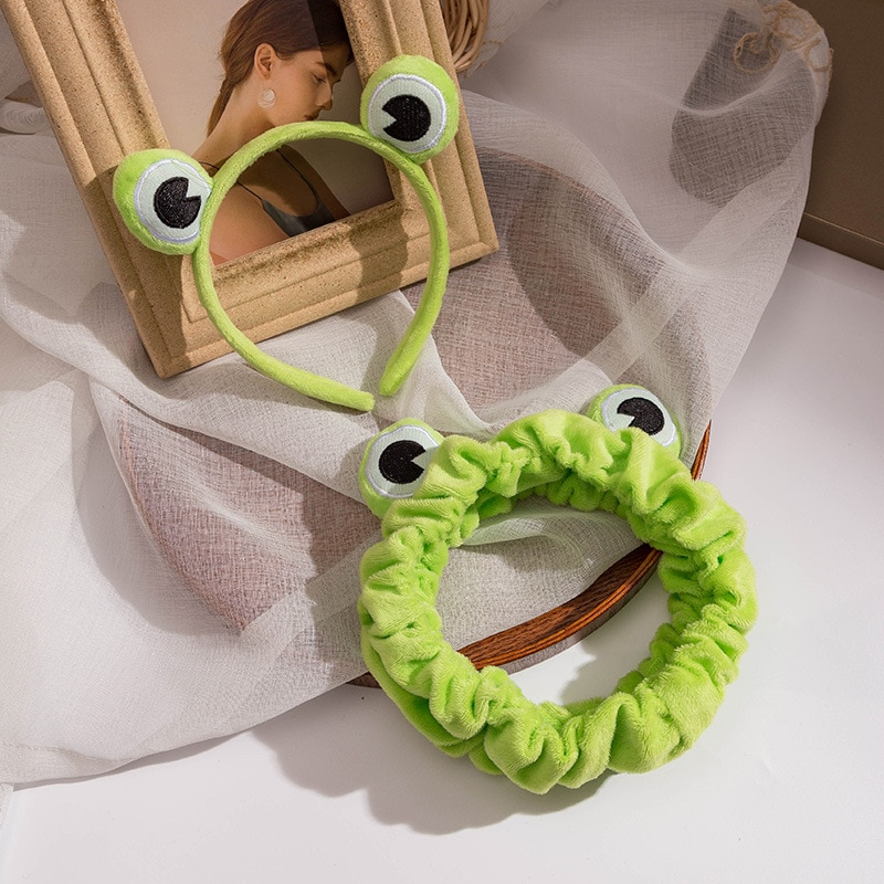 2021 Funny Green Frog Makeup Headband Wide-brimmed Elastic Hairbands Cute Girls Hair Bands Women Hai