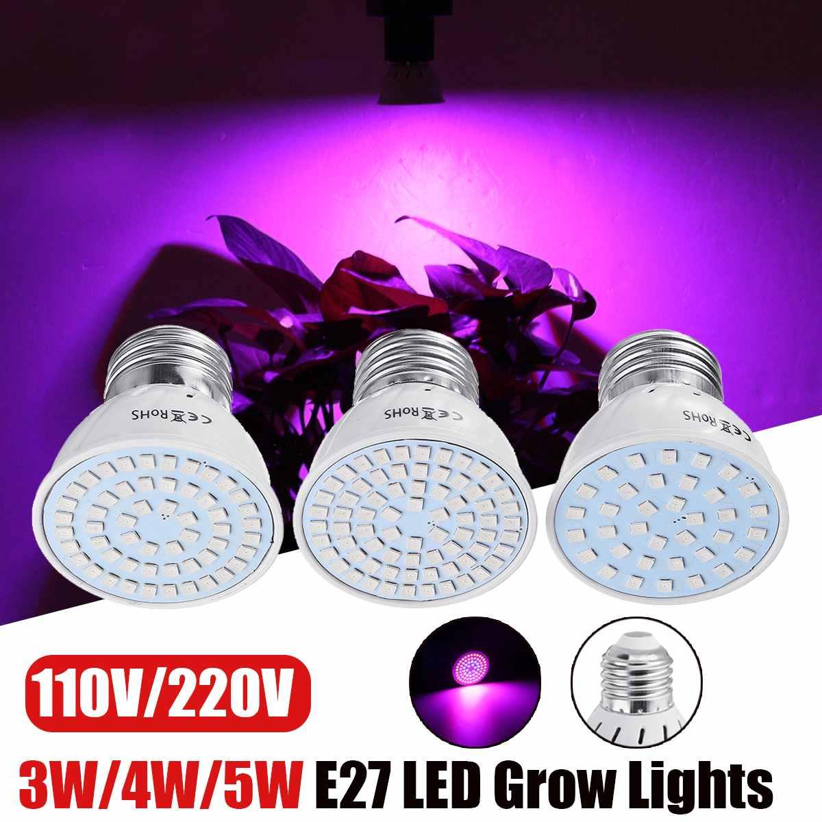 Luz de crecimiento hidropónico E27 LED luces de crecimiento espectro completo 220V lámpara UV planta flor plántulas invernadero 3 W/4 W/5 W