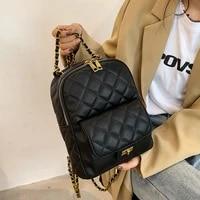 mochila femenina 2021 fashion leather backpack women luxury designer plaid shoulder back packs bag girls chain school backpack