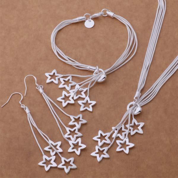 Fine bijoux argent plaqué couleur ensemble de bijoux classique pour les femmes dame mariage étoile Bracelet collier boucle doreille chaîne ensemble H370