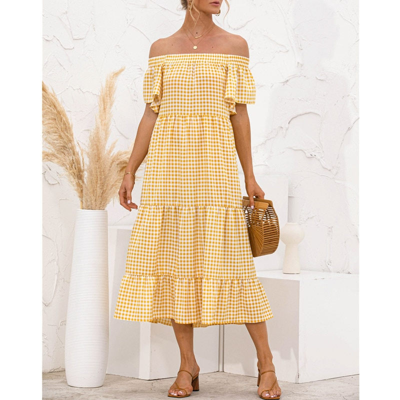 Plaid Print Off Shoulder Women Dress Summer Ruffles Loose Elegant Chic Short Sleeve Boho Midi Cake Sweet Dresses 2021 New