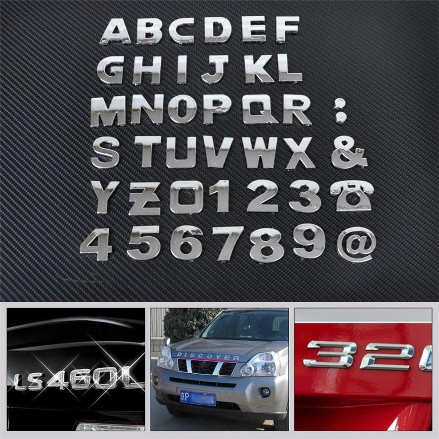 Auto DIY letras alfabeto número pegatinas Logo para Ford Transit Ranger Mustang Ka Focus fusión F-150