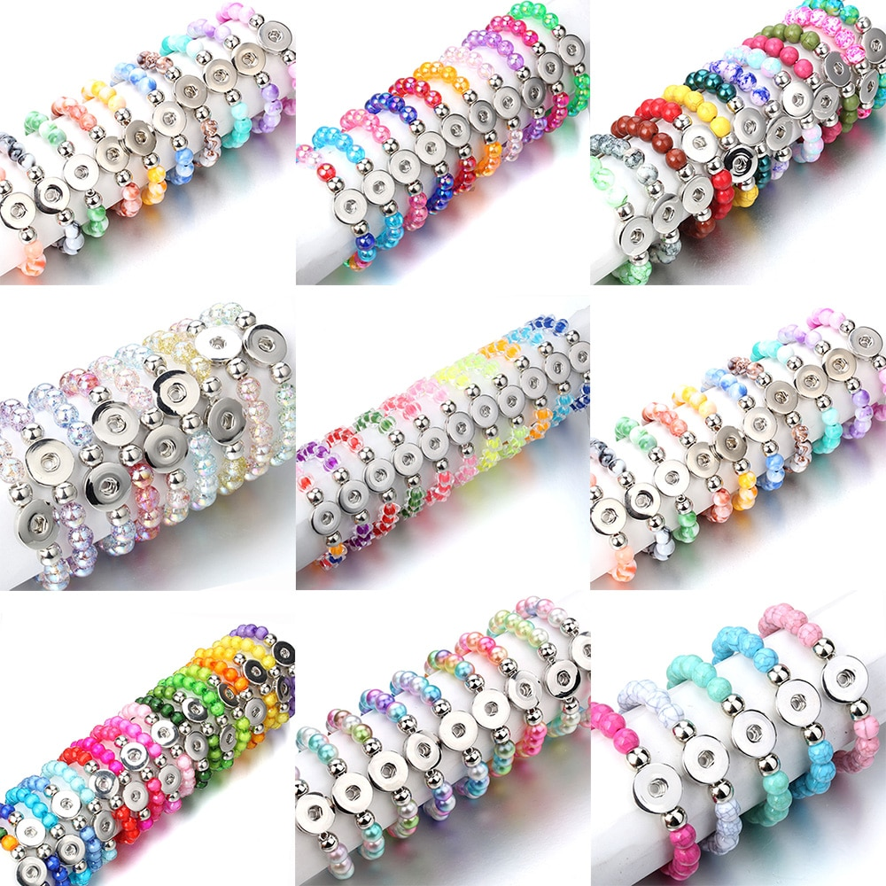 10Pcs/lot New Snap Jewelry 18mm Snap Button Bracelet 10mm Beads Handmade Elastic Bracelet For Women Gift