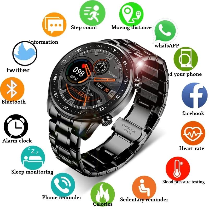 LIGE 2020 Full circle touch screen steel Band luxury Bluetooth call Men smart watch Waterproof Sport
