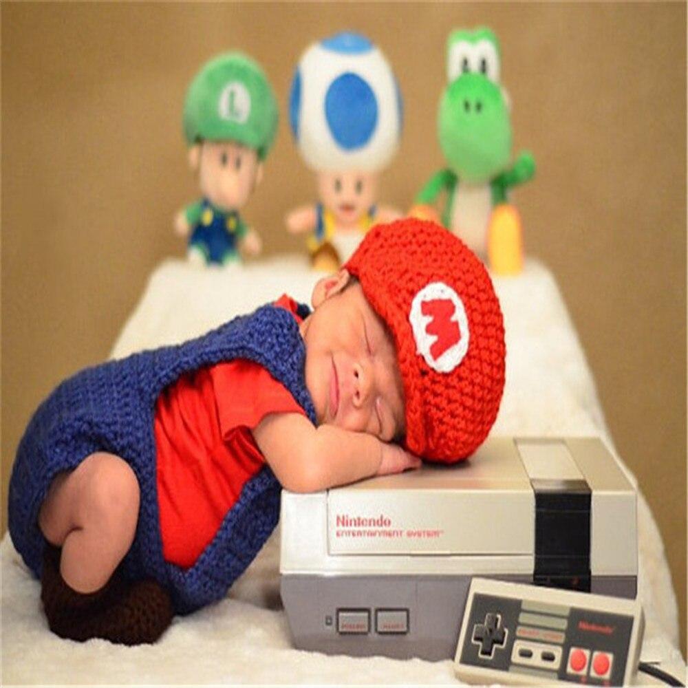 Bebé chico ropa de Super Mario gorros para recién nacidos de dibujos animados Mario Cosplay traje de bebé fotografía apoyos de fotografía de sombrero