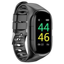 M1 sans fil Inear Bluetooth 5.0 écouteur intelligent bracelet sport montre intelligente tension artérielle moniteur de fréquence cardiaque pour IPhone Android