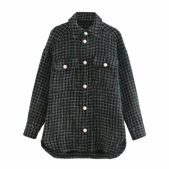 ZXQJ Tweed Women Vintage Oversize Plaid Shirts 2021 Spring-Autumn Chic Ladies Streetwear Loose Shirt Elegant Female Outfit Girls 10