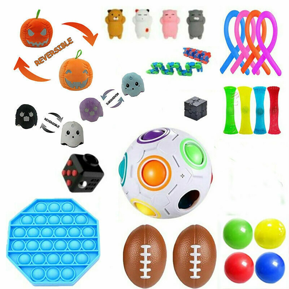 30PCS Pack Sensory Decompression Toy Set Stress Relief Autism Anxiety Relief Stress Pop Bubble Fidget Toys For Kids Adults Boys