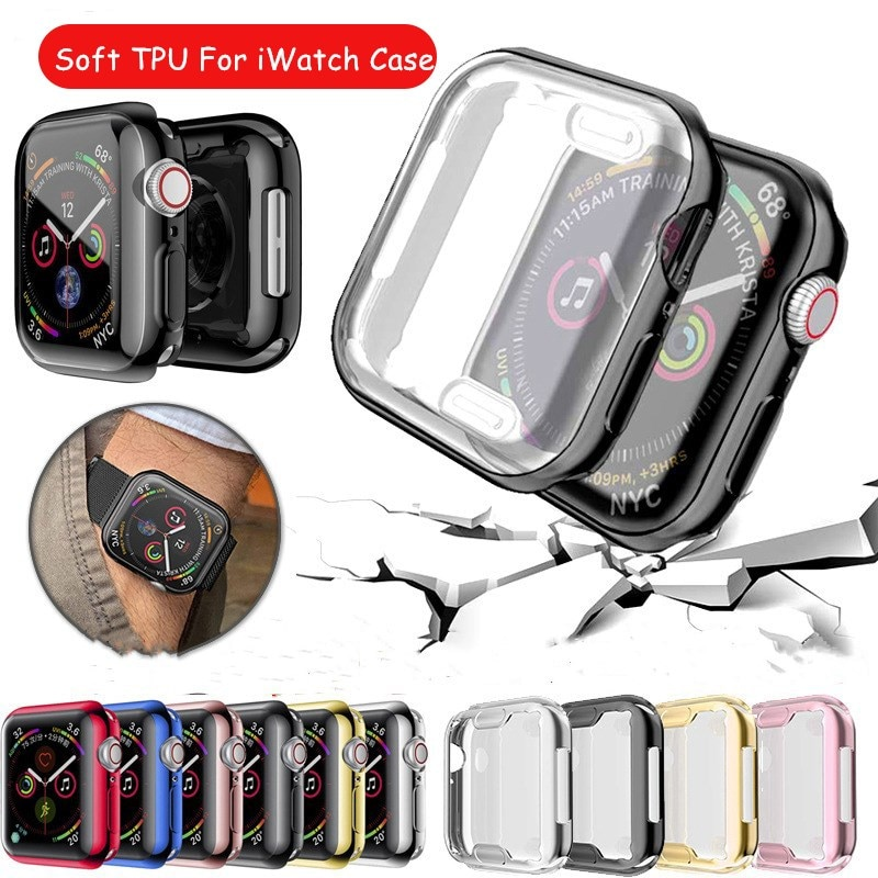 watch cover case for apple watch 6 5 4 3 2 1 se 44mm 42mm 40mm 38mm colorful screen full protector shell for iwatch watch case 360 Slim Watch Cover Case for Apple Watch Case SE 6/5/4 44mm 40mm Soft Clear TPU Screen Protector for iWatch 3/2/1 42mm 38mm