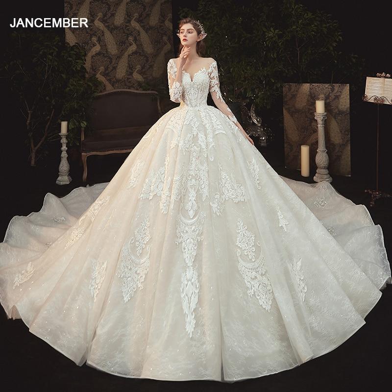LDR34 الأبيض كم طويل فستان الزفاف العروس الدانتيل مزاجه زائدة ثوب المرأة زين طباعة سليم مزاجه فستان الزفاف