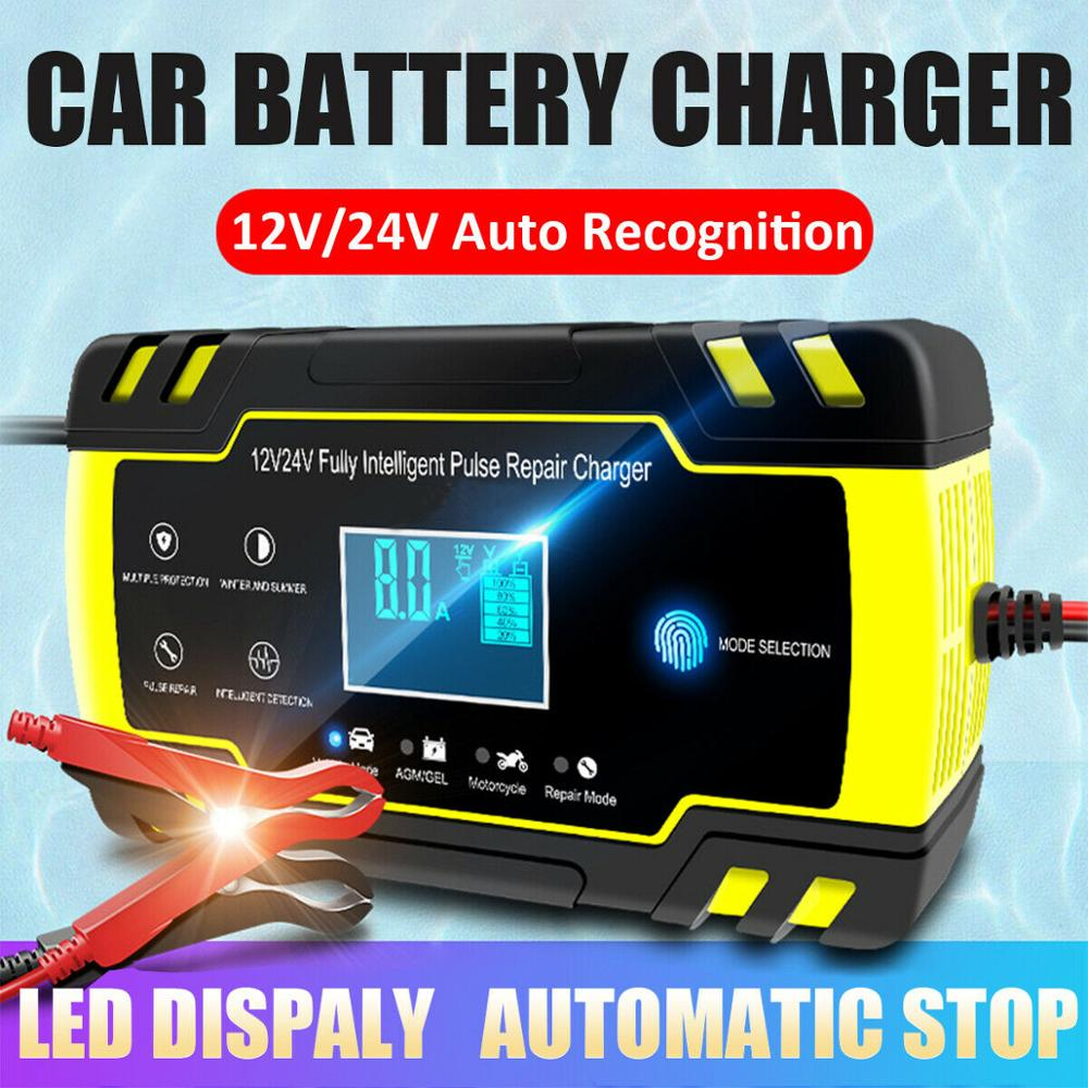 Intelligente Batterie Ladegerät 12V Auto Ladegerät Automatische Puls Reparatur Ladegerät Duarable Motorrad Batterie Ladegerät Touch Schlüssel Display