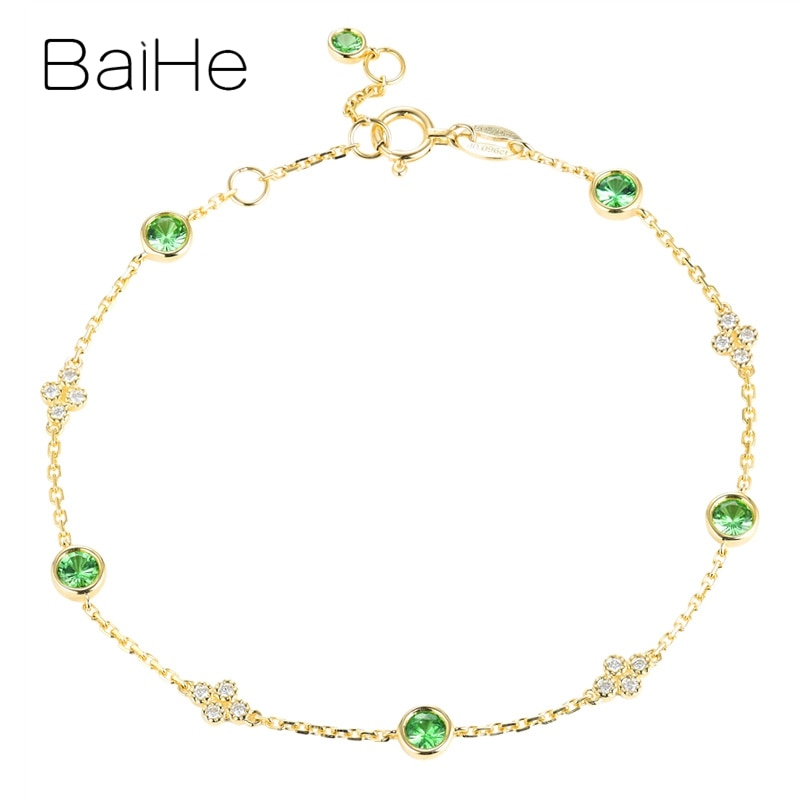 Baihe sólido 18k ouro amarelo 0.70ct redondo natural tsavorite pulseira 0.095ct diamantes naturais jóias finas presente na moda pulseira
