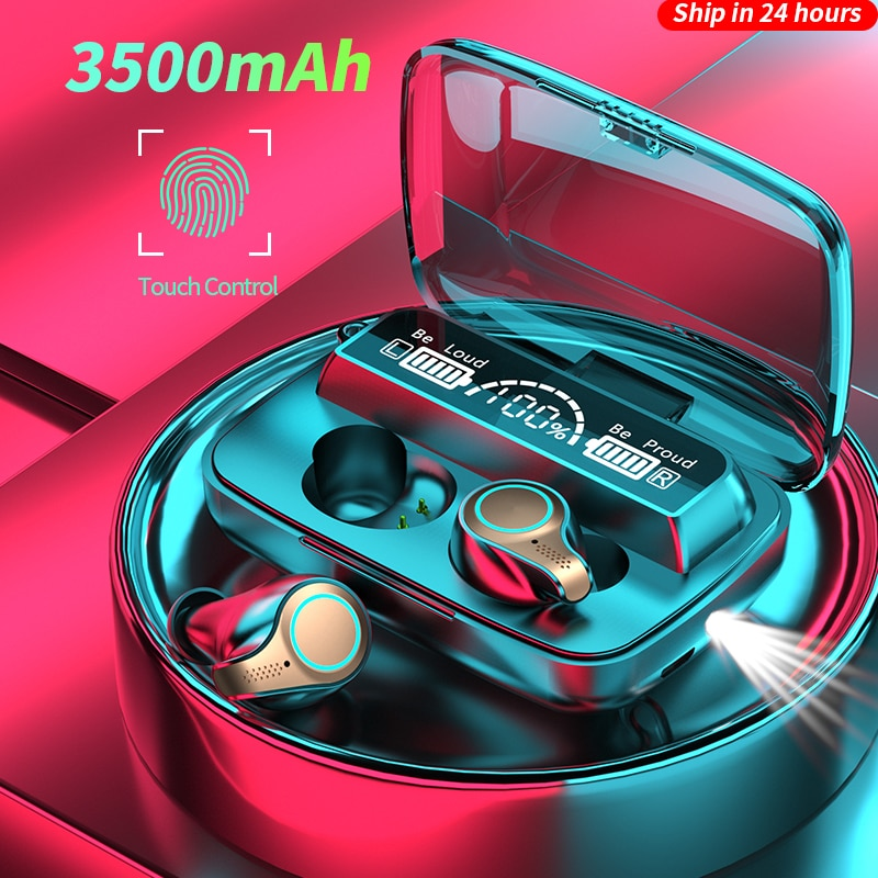 3500 mAh Bluetooth Earphones Wireless Headphones Touch Control Sports Waterproof Headsets HiFi Stere