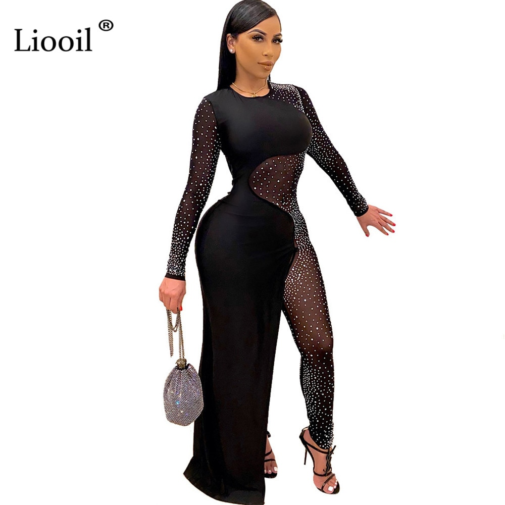 Liooil Asymmetrical Rhinestone Mesh Sheer Sexy Jumpsuits For Women Long Sleeve See Through Party Club Rompers Bodycon Jumpsuits seduction beltless mesh sheer sexy cut out jumpsuits bodycon 2020 long sleeve party club rompers womens jumpsuit black overalls