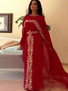 Red Muslim Evening Dresses A-line Long Sleeves Chiffon Appliques Moroccan Kaftan Dubai Saudi Arabia Long Prom Dress Gown