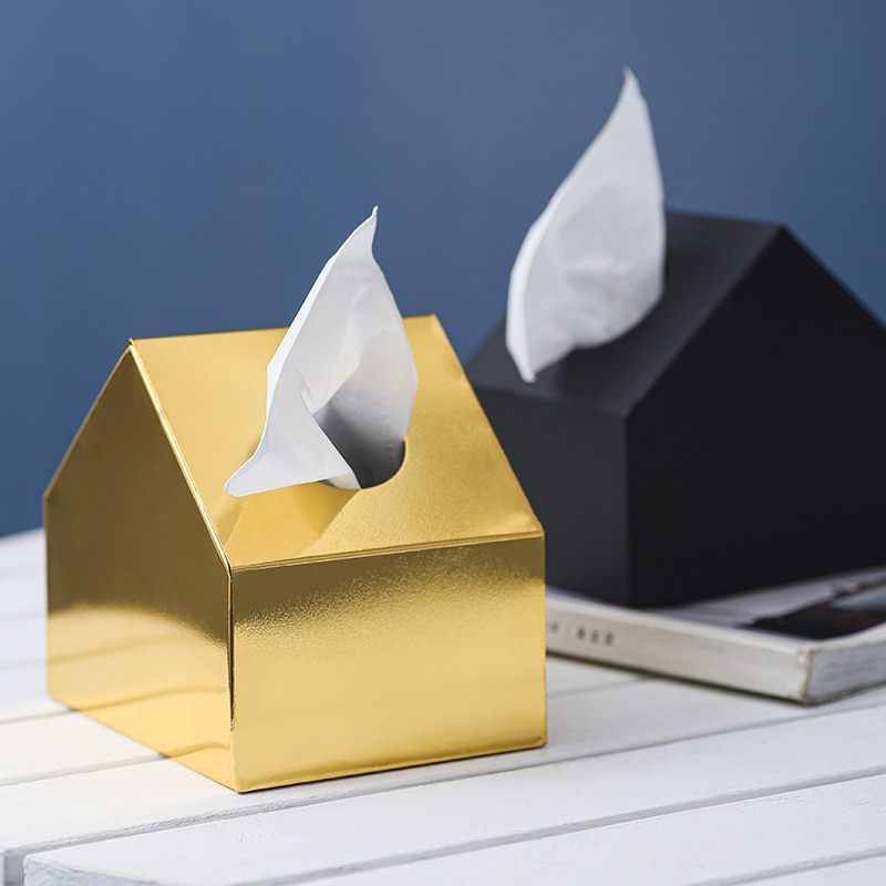 Estante de papel de estilo nórdico elegante Noble Golden House soporte de pañuelos para el hogar del coche caja de pañuelos contenedor toalla servilleta de acero inoxidable