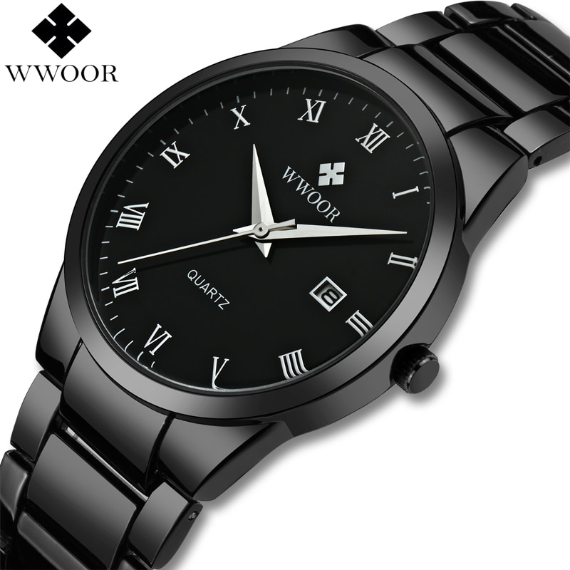 WWOOR Brand Men Watches Quartz Analog Date Japan Movement Waterproof Stainless Steel Male Wrist Watch Black Wristwatch for Men wlisth fashion men s watches steel strap watch for men waterproof watches quartz wristwatch date male watch clock for men