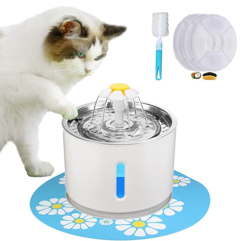 التلقائي الحيوانات الأليفة القط المياه نافورة موزع USB LED 2.4L هادئة جدا الكلب وعاء الشرب المغذية شارب عاء الحيوانات الأليفة الشرب المغذية