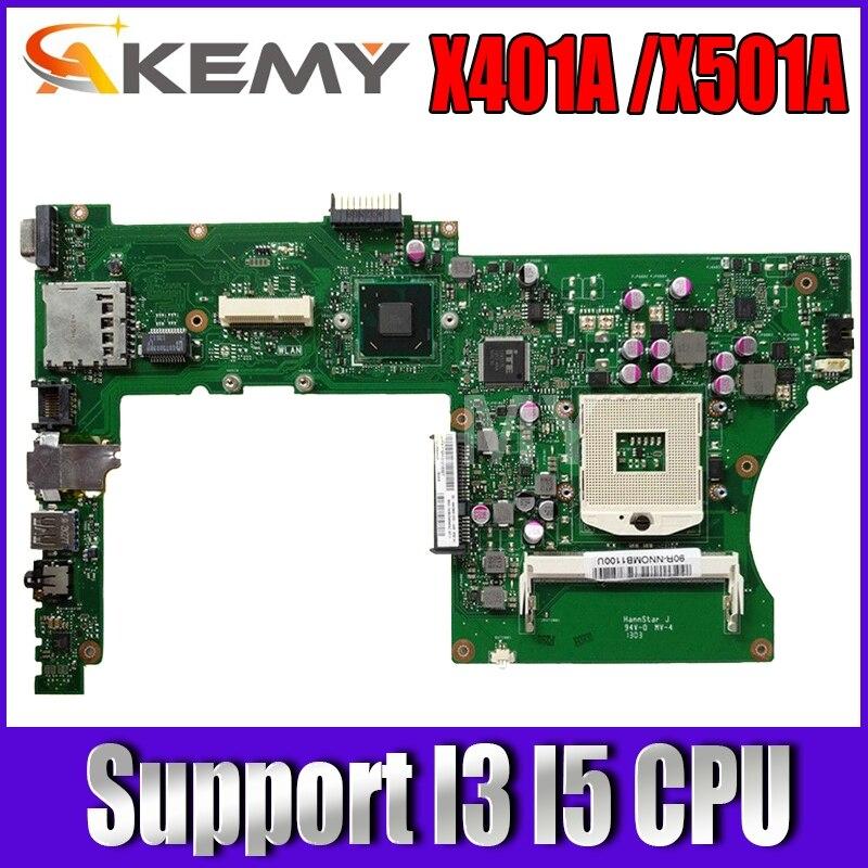Akemy ل Asus X401A X501A اللوحة المحمول X401A X501A اللوحة اختبار دعم I3 I5 وحدة المعالجة المركزية