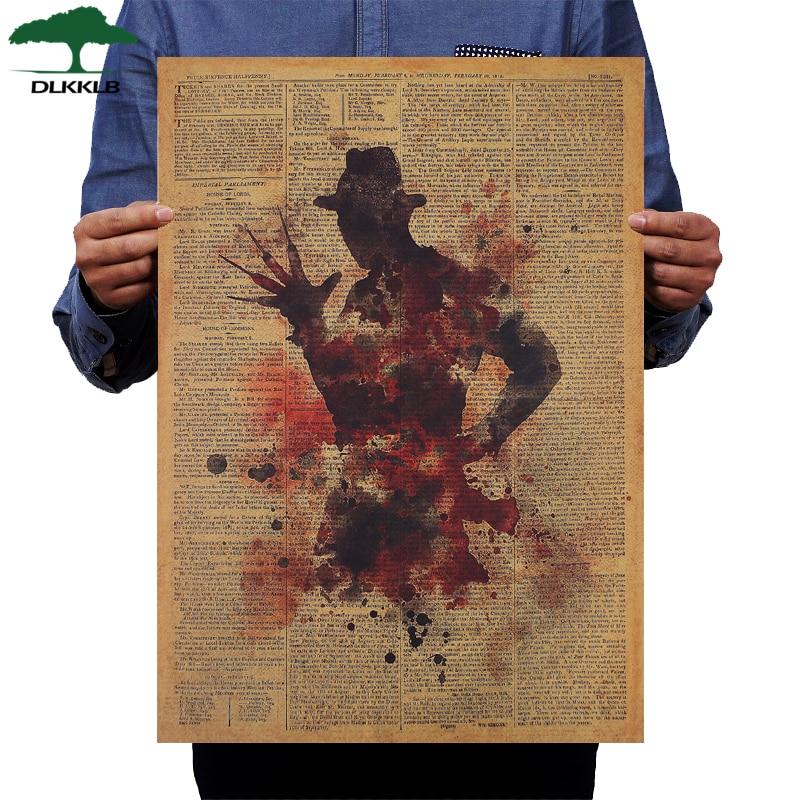 DLKKLB Классический плакат из фильма ужасов Фредди Крюгер винтажная крафт-бумага 50,5x36 см Настенная Наклейка украшение для дома бара кафе картина
