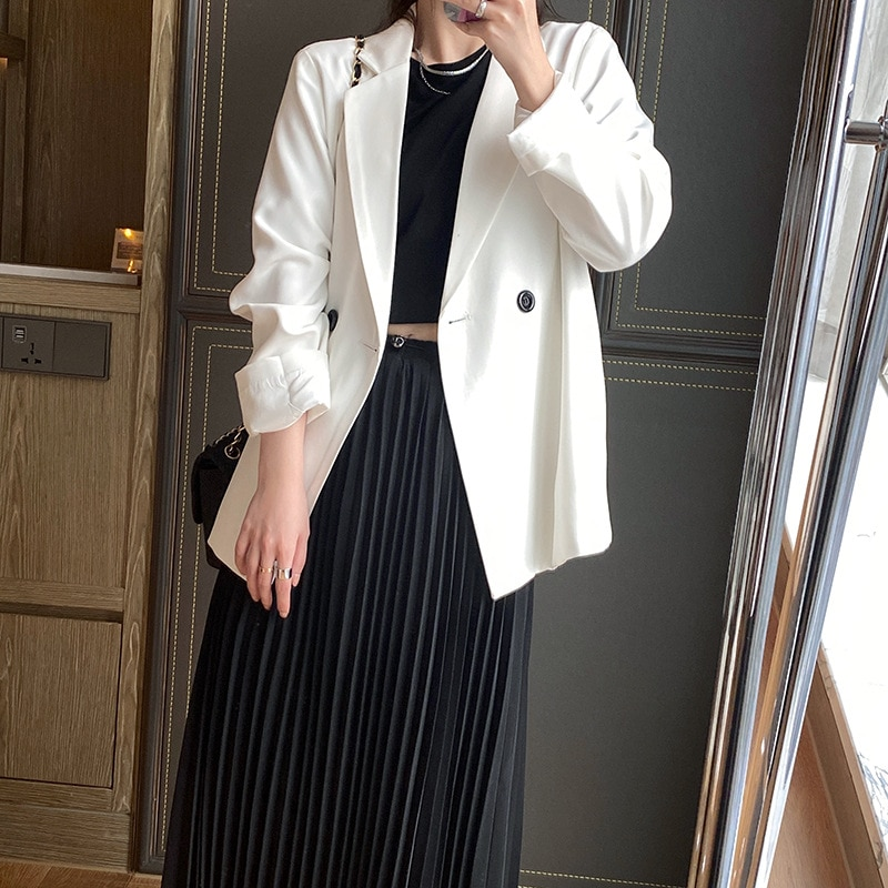 2021 New Spring Autumn Long Sleeve Oversized Suit Jacket Women's Korean Solid Single Button Retro Ca