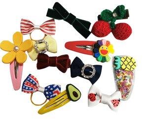 Mix Colors Ribbon Bow Hair Clip for Girls (Random 20pcs)