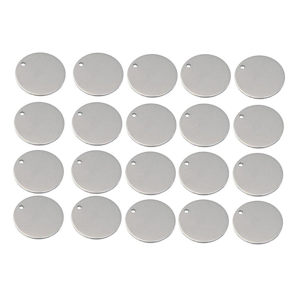 20 unidades de Metal plano círculo redondo en blanco Moneda de estampado colgantes etiqueta grabado disco monedas múltiples tamaños miembro de la familia regalo