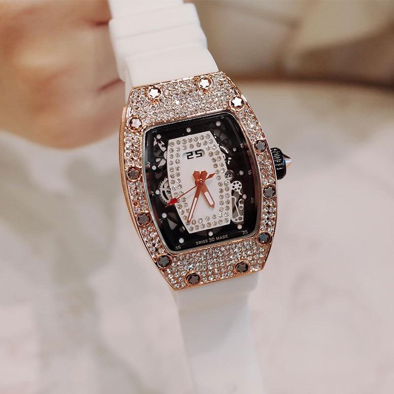 Fashion Trend Diamond Ladies Quartz Watch RM Tone Shaped Silicone Gold Personality Woman Luxury Ladies Wrist Watch relogio enlarge