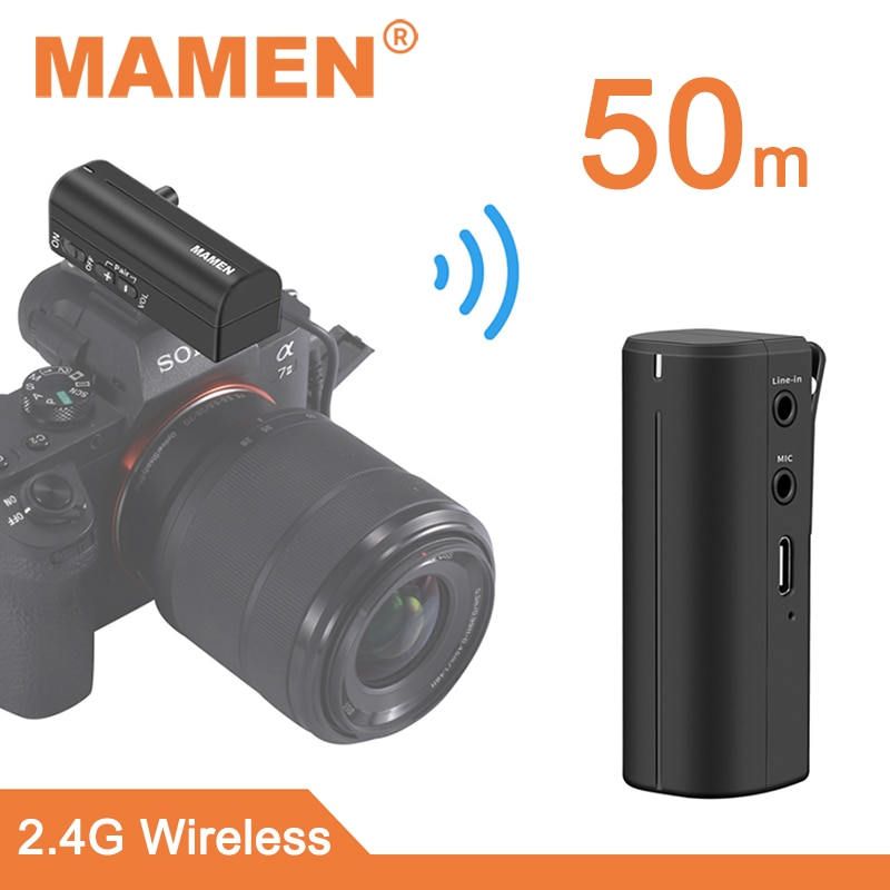 MAMEN 2.4G Mini Wireless Microphone System Real-time Monitoring Lavalier Microphone for Smartphone Camera Vlog Interview Record