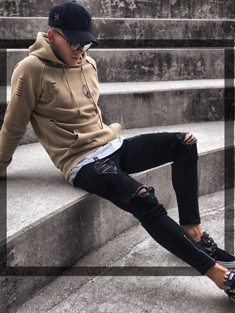 Mens Jeans Cool Designer Skinny Ripped Destroyed Stretch Slim Fit Hop  Zippers for Casual Men